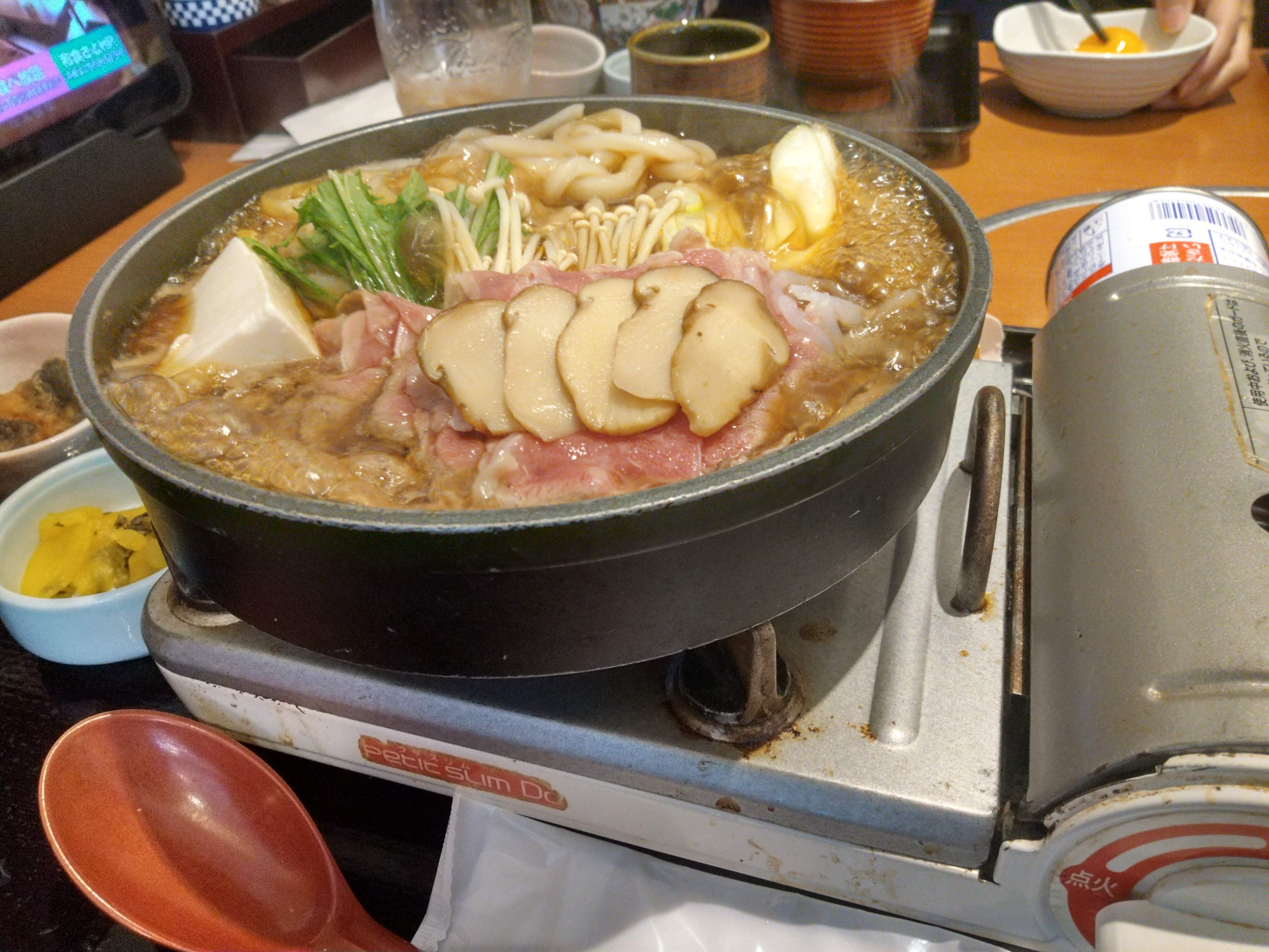 松茸すき牛うどん鍋膳